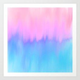 Elegant teal lavender pink watercolor brushstrokes ikat Art Print