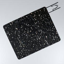 Black and white shiny glitter sparkles Picnic Blanket
