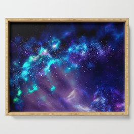 Abstract Nebula #2: Blue Serving Tray
