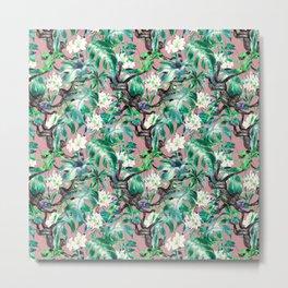 Monkeys in the flowery jungle Metal Print