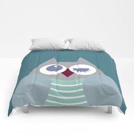 Owl dark green Comforters