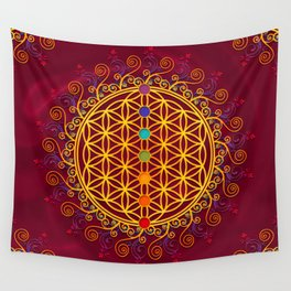 FLOWER OF LIFE, CHAKRAS, SPIRITUALITY, YOGA, ZEN, Wall Tapestry