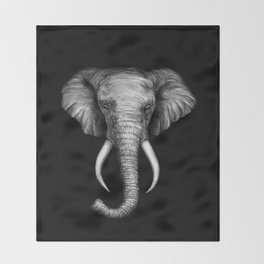 Elephant Head Trophy Throw Blanket