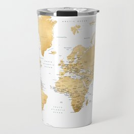 Gold world map with country capitals Travel Mug