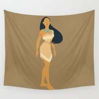 pocahontas Wall Tapestries featuring pocahontas by Live It Up