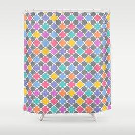 Rainbow & Gray Quatrefoil Shower Curtain
