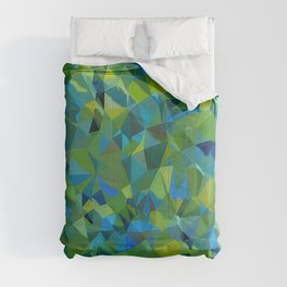 green and blue color with elegant sparkling geometric crystals Comforters