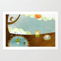 swimming Art Prints featuring Swimming by Malin Koort