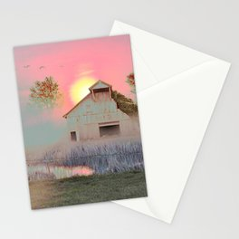 OLD BARN IN THE FOG Stationery Cards