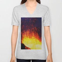 Eruption volcano - fountain, fireworks lava erupting from crater Unisex V-Neck