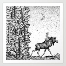John Bauer Tuvstarr & The Moose Art Print
