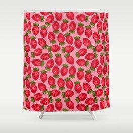Strawberry Print - Pink BG Shower Curtain