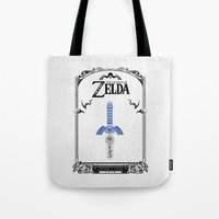 the legend of zelda Tote Bags featuring Zelda legend - Sword by Art & Be