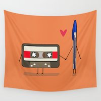 cassette Wall Tapestries featuring Love: cassette and pen by AlbaRicoque