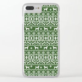 Poodle fair isle christmas dog gifts poodles pet lover dog breed holiday gifts green and white Clear iPhone Case