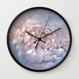 Blushing Blue and Cream Peony - Floral Wall Clock