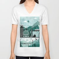 travel poster V-neck T-shirts featuring Vancouver Travel Poster Illustration by ClaireIllustrations