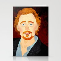 tom hiddleston Stationery Cards featuring Portrait: Tom Hiddleston by Delucienne Maekerr