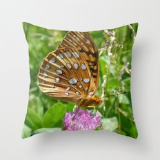 Great Spangled Fritillary Butterfly 2 Throw Pillow