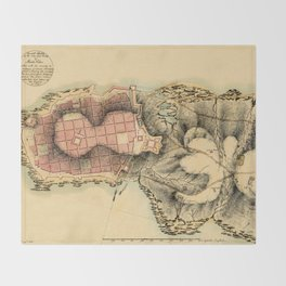Map Of Montevideo 1808 Throw Blanket