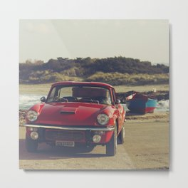 Triumph Spitfire by the sea, with ship, fine art photo, british car, sports car, color, high definit Metal Print