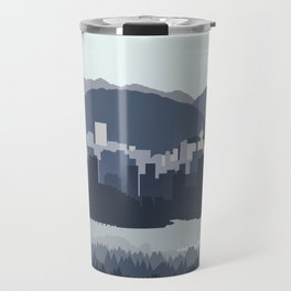 Vancouver Skyline in Blues Travel Mug