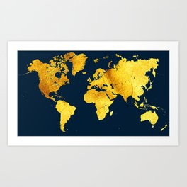 Royal Blue and Gold Map of The World - World Map for your walls Art Print