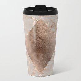 Copper and Blush Rose Gold Marble Gingham Travel Mug
