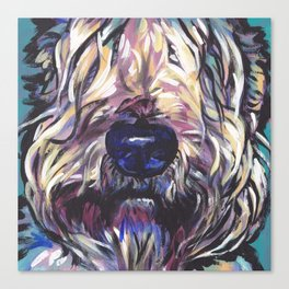Wheaten Terrier Fun Dog Portrait bright colorful Pop Art Painting by LEA Canvas Print