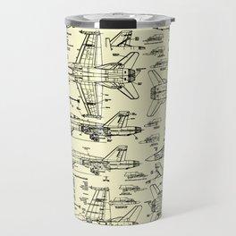 F-18 Blueprints // Parchment Travel Mug