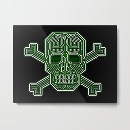Hacker Skull Crossbones (isolated version) Metal Print