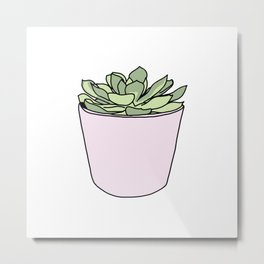 Green suculent in pink flowerpot Metal Print