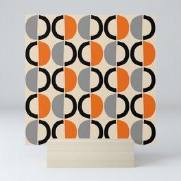 Mid Century Modern Half Circle Pattern 548 Beige Black Gray and Orange Mini Art Print