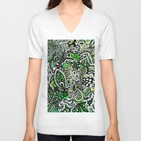 green pattern V-neck T-shirts featuring Green Pattern by Marcela Caraballo