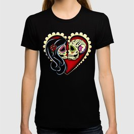 Ashes - Day of the Dead Couple - Kissing Sugar Skull Lovers T-shirt