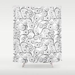 Abstract black white hand drawn swirls pattern Shower Curtain
