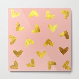 gold heart pattern pink Metal Print