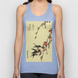 Moon Swallows and Peach Blossoms Unisex Tank Top