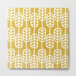 Feather Leaves Minimalist Pattern in White and Light Mustard Metal Print