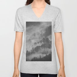 Vintage Black & White Photo Of A Mountain Forest With Mist Unisex V-Neck