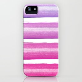 Simply hand painted pink and magenta stripes on white background  2 - Mix and Match iPhone Case