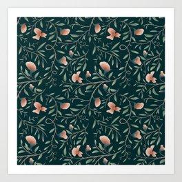 Floral Botanical Pattern 002 Art Print