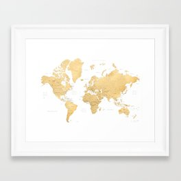 Gold world map with countries and states labelled Framed Art Print