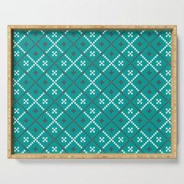 Nordic Folk Art Pattern in Blue Serving Tray