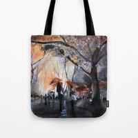 rain Tote Bags featuring Autumn rain - watercolor by Nicolas Jolly
