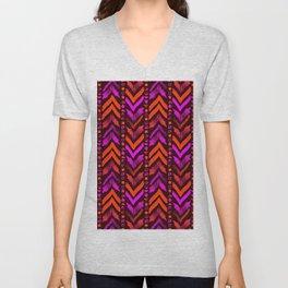 Tribal Scribble Kilim in Neon Coral + Brown Unisex V-Neck