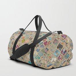 patchwork lanterns vintage on tan linen Duffle Bag