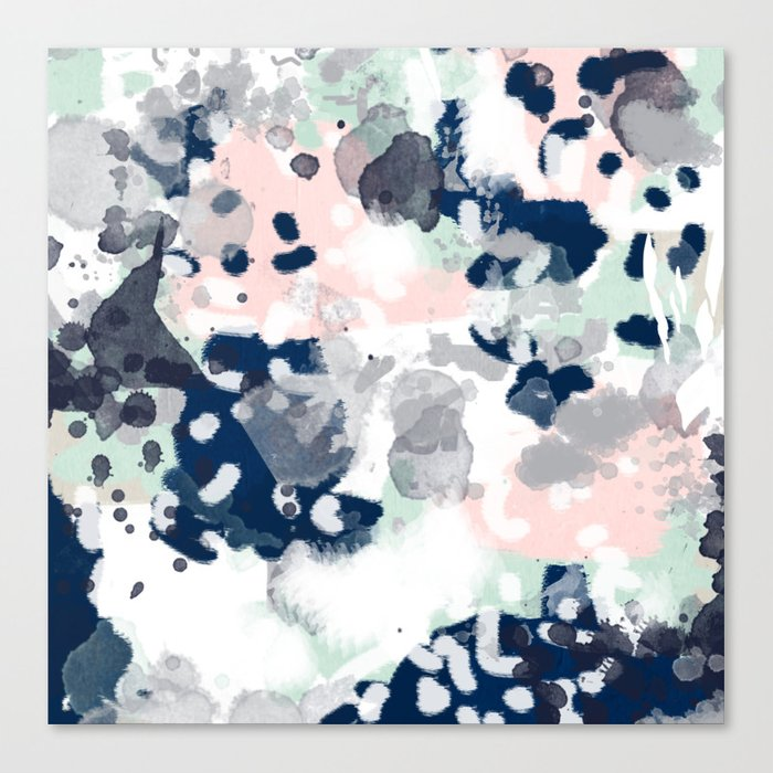 Melia - abstract minimal painting acrylic watercolor nursery mint navy pink Leinwanddruck