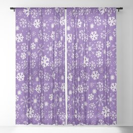 Snowflake Snowstorm With Purple Background Sheer Curtain
