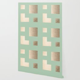 Simply Geometric White Gold Sands on Pastel Cactus Green Wallpaper